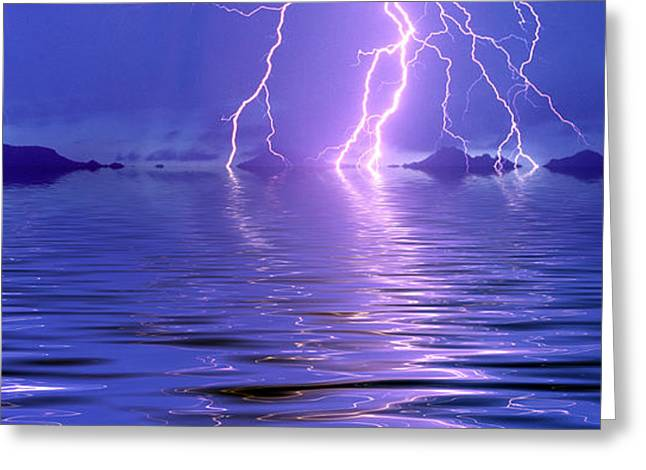 Lightning Over The Sea Greeting Card