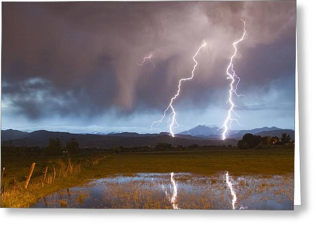 Lightning Striking Longs Peak Foothills Greeting Card by James BO  Insogna