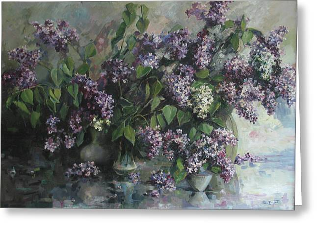 Greeting Card featuring the painting Lilacs by Tigran Ghulyan