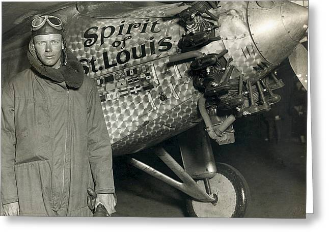 Lindbergh With His Airplane, 1928 Greeting Card