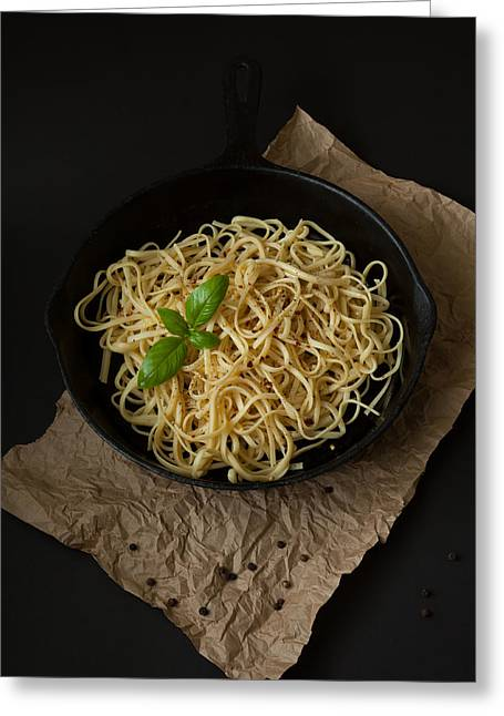 Linguine With Basil In Cast Iron Pan Greeting Card