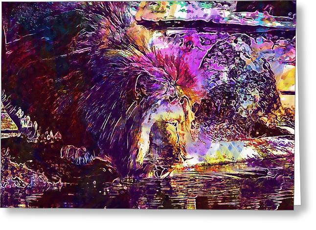 Greeting Card featuring the digital art Lion Cat Zoo Male Big Cat Africa  by PixBreak Art