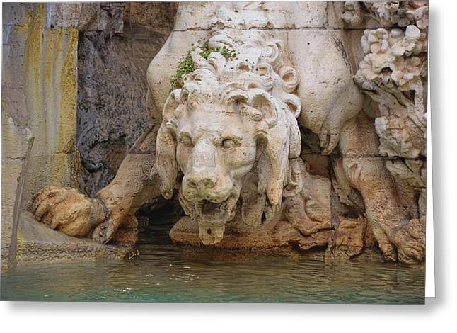 Lion In The Fountain Greeting Card by JAMART Photography