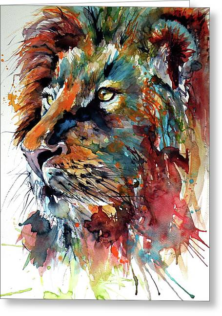 Greeting Card featuring the painting Lion by Kovacs Anna Brigitta