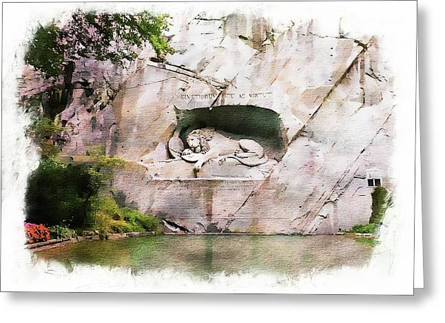 Lion Of Lucerne Greeting Card by Joseph Hendrix
