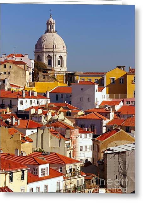 Rooftop Photographs Greeting Cards - Lisbon View Greeting Card by Carlos Caetano