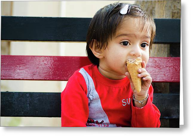 Little Girl Sitting On A Bench And Eating An Ice-cream Cone Greeting Card by Shilpa Panchal
