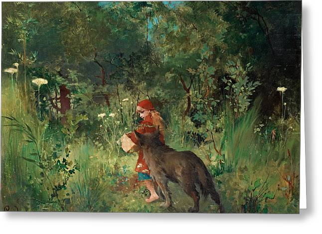 Little Red Riding Hood And The Wolf In The Forest Greeting Card