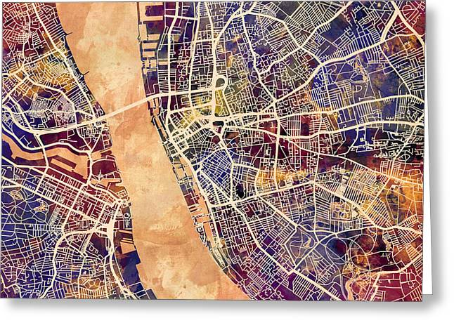 Liverpool England Street Map Greeting Card by Michael Tompsett