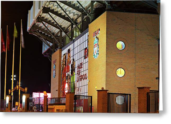 Liverpool Uk, 17th October 2016. Liverpool Football Club's New Giant Mural For The 2016/17 Season At The Kop End Of The Stadium Lit Up At Night Greeting Card
