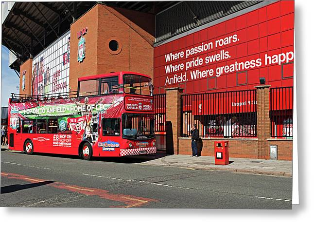 Liverpool Uk, 17th September 2016. Liverpool Football Club Kop Entrance With City Explorer Anfield Tour Bus Greeting Card