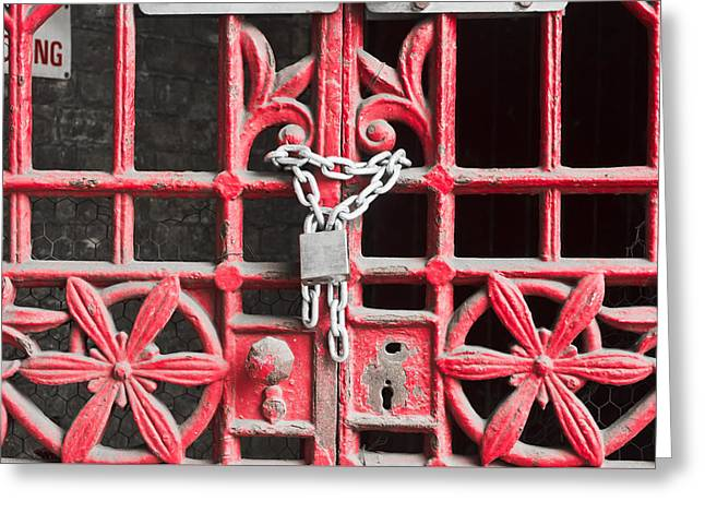 Locked Gate Greeting Card