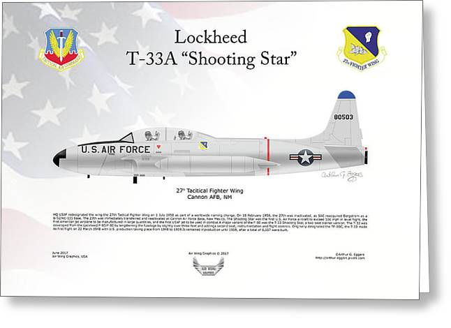 Lockheed T-33a Shooting Star Greeting Card