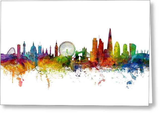 London England Skyline Panoramic Greeting Card by Michael Tompsett
