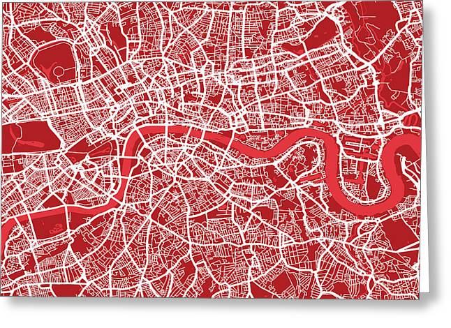 Capital Greeting Cards - London Map Art Red Greeting Card by Michael Tompsett