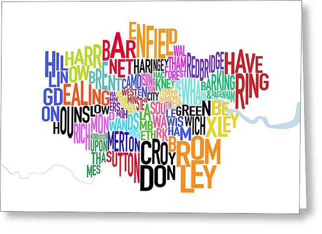 London Uk Text Map Greeting Card by Michael Tompsett