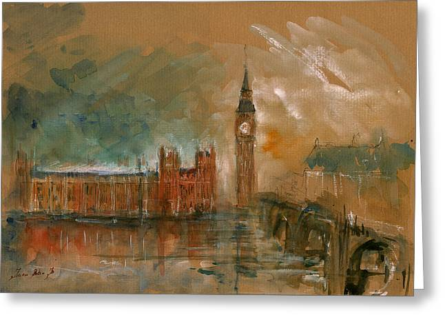 London Watercolor Painting Greeting Card by Juan  Bosco