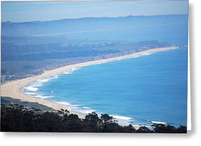 Carolyn Donnell Greeting Cards - Looking Down On Half Moon Bay  Greeting Card by Carolyn Donnell