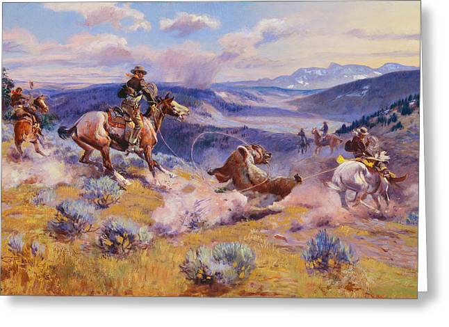 Loops And Swift Horses Are Surer Than Lead Greeting Card by Charles Marion Russell