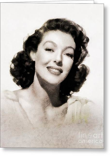 Loretta Young, Vintage Actress By John Springfield Greeting Card
