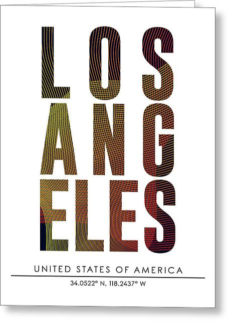 Los Angeles City Print With Coordinates Greeting Card