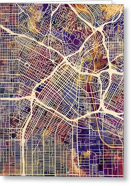 Los Angeles City Street Map Greeting Card