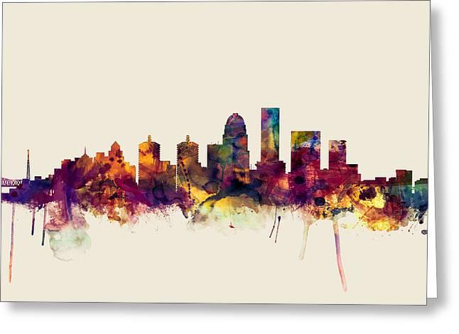 Louisville Kentucky City Skyline Greeting Card by Michael Tompsett
