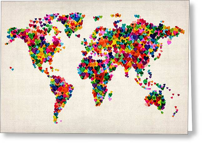 Map Greeting Cards - Love Hearts Map of the World Map Greeting Card by Michael Tompsett