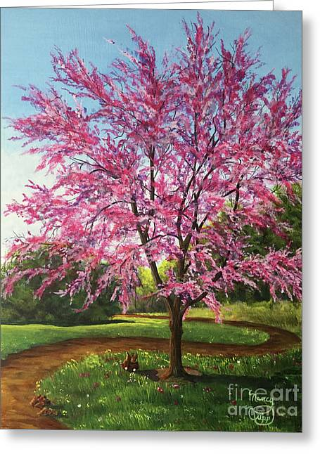 Greeting Card featuring the painting Love Is In The Air by Nancy Cupp