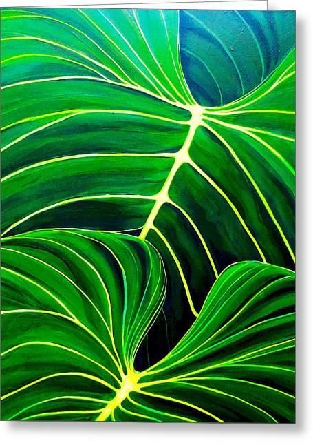Greeting Card featuring the painting Lovely Greens by Debbie Chamberlin