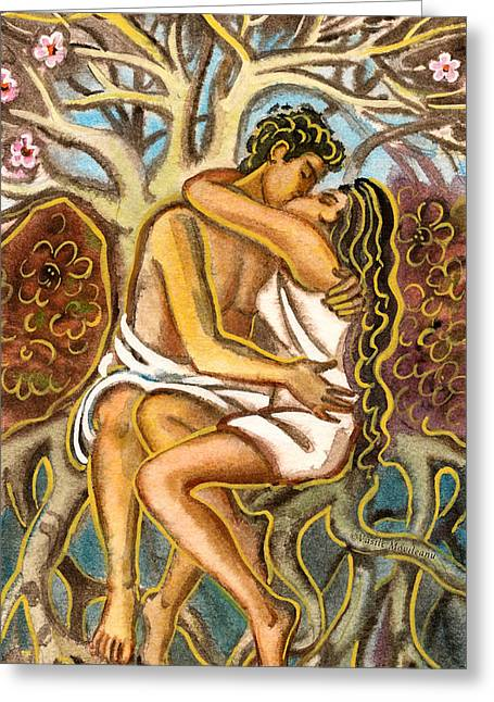 Tree Roots Pastels Greeting Cards - Lovers kissing each other under a blooming tree Greeting Card by Vasile Movileanu