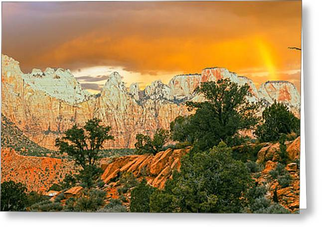 Low Angle View Of A Mountain Range Greeting Card by Panoramic Images