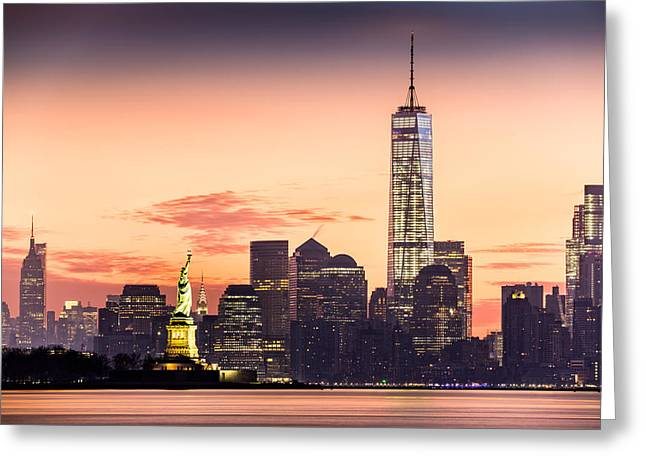 Lower Manhattan And The Statue Of Liberty At Sunrise Greeting Card