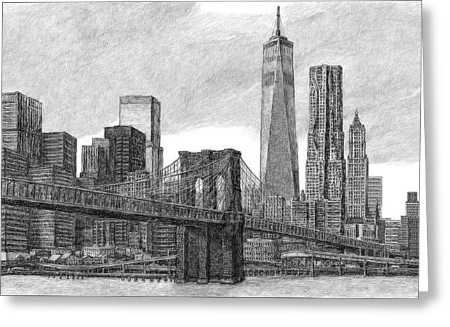 Lower Manhattan Skyline Greeting Card