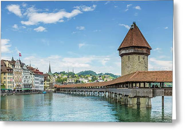 Lucerne Chapel Bridge And Water Tower - Panoramic Greeting Card by Melanie Viola