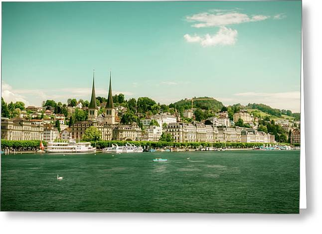 Greeting Card featuring the photograph Lucerne Panorama by Wolfgang Vogt