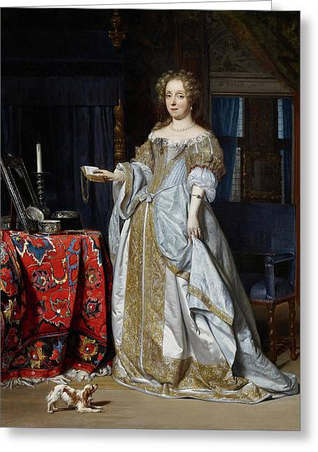 Lucia Wijbrants Greeting Card by Gabriel Metsu