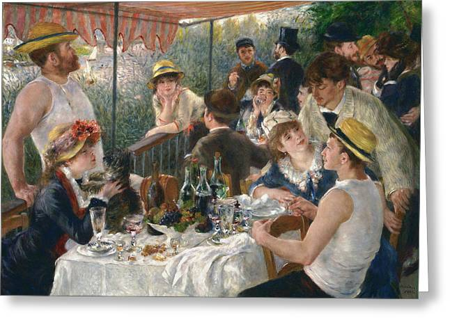 Luncheon Of The Boating Party Greeting Card by Auguste Renoir