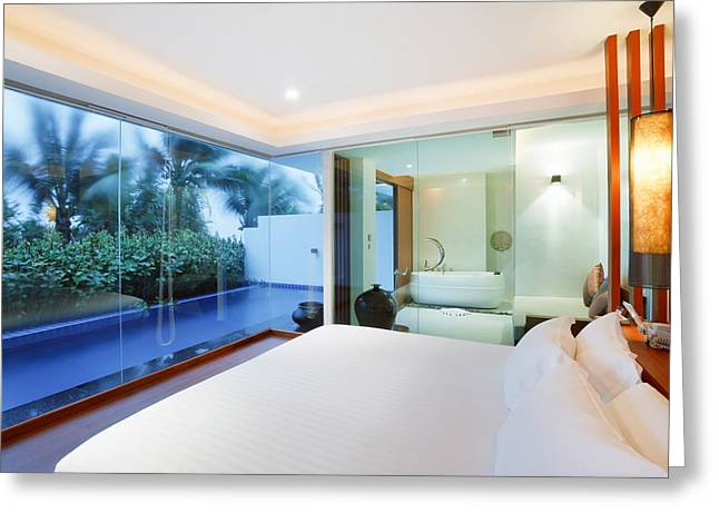 Luxury Bedroom Greeting Card by Setsiri Silapasuwanchai