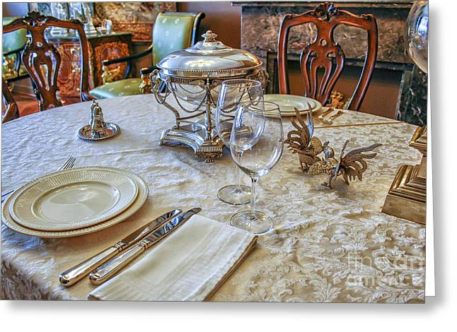 Luxury Table Setting With Silver Greeting Card by Patricia Hofmeester