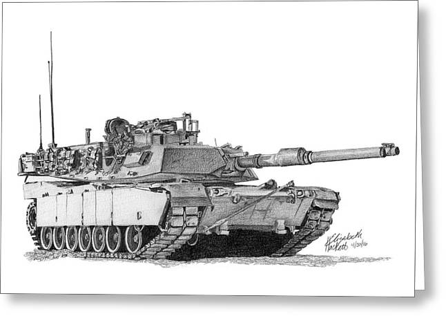 Greeting Card featuring the drawing M1a1 Tank by Betsy Hackett