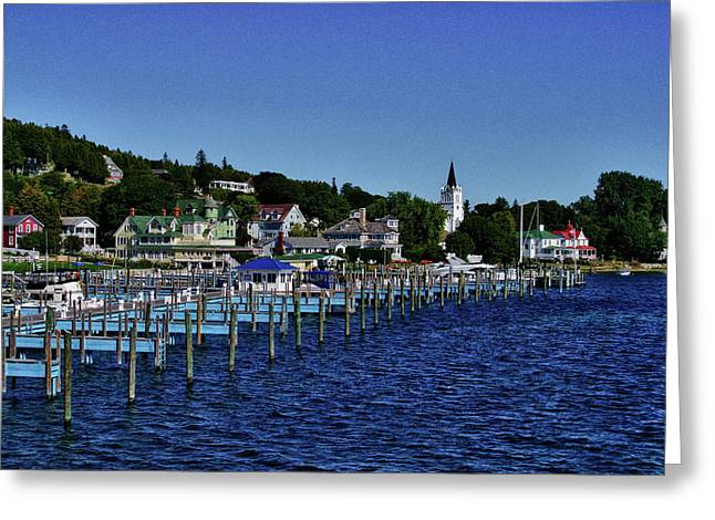 Mackinac By The Docks Greeting Card