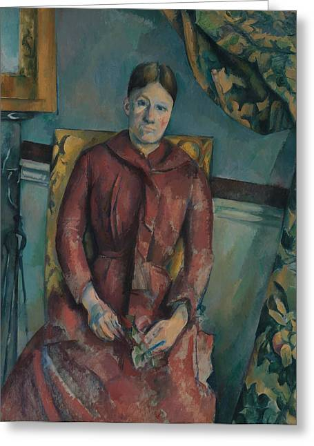 Madame Cezanne In A Red Dress Greeting Card by Paul Cezanne
