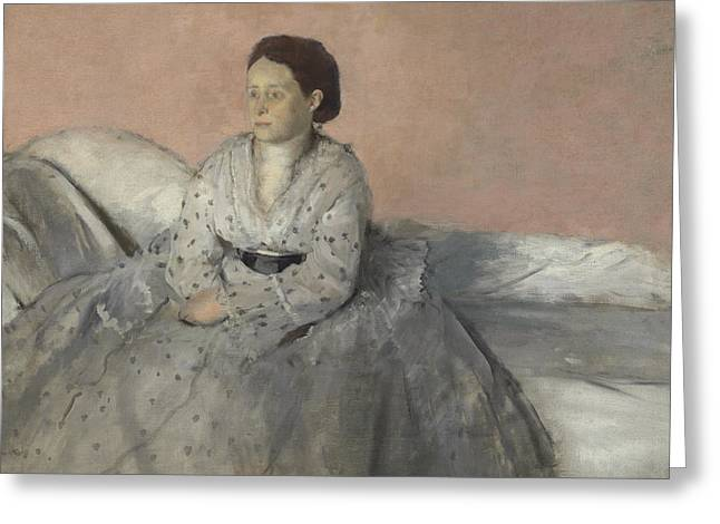 Madame Rene De Gas Greeting Card by Edgar Degas