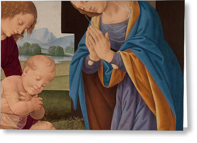 Madonna Adoring The Child With The Infant Saint John The Baptist And An Angel Greeting Card by Lorenzo di Credi