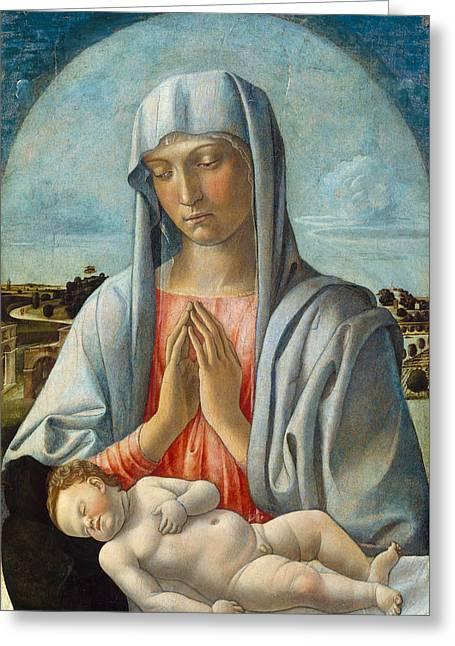 Madonna Adoring The Sleeping Child Greeting Card