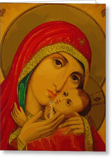 Madonna And Child Greeting Card by Christian Art