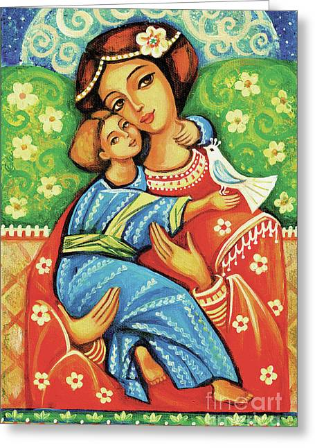 Greeting Card featuring the painting Madonna And Child by Eva Campbell