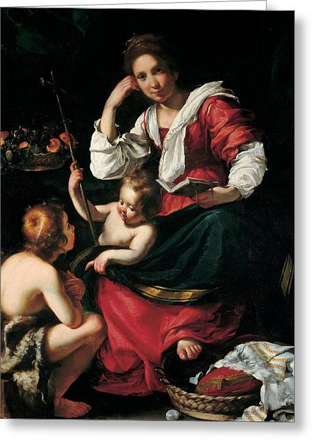 Madonna And Child With Infant Saint John Greeting Card