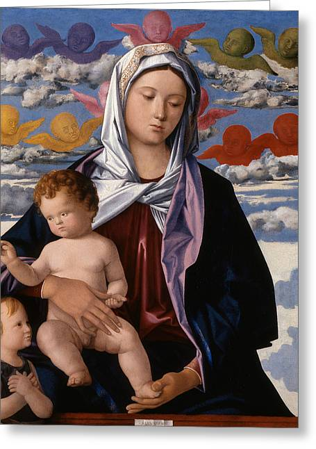Madonna And Child With St. John The Baptist Greeting Card by Giovanni Bellini